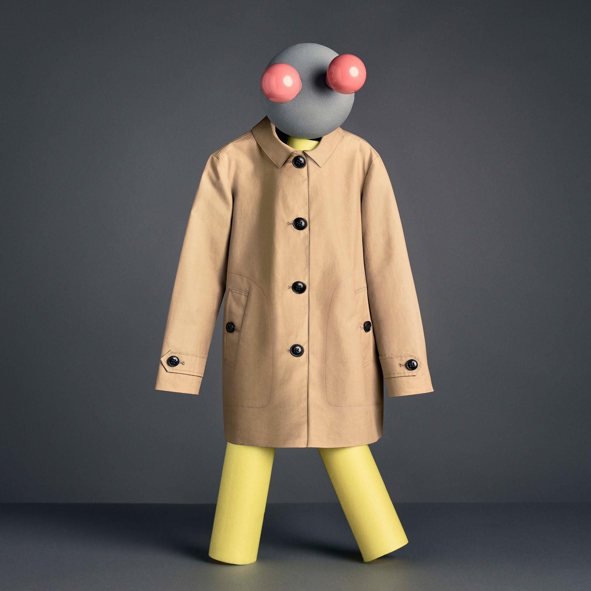 Mercerised Cotton Car Coat in Honey - Boy | Burberry United Kingdom - gallery image 5