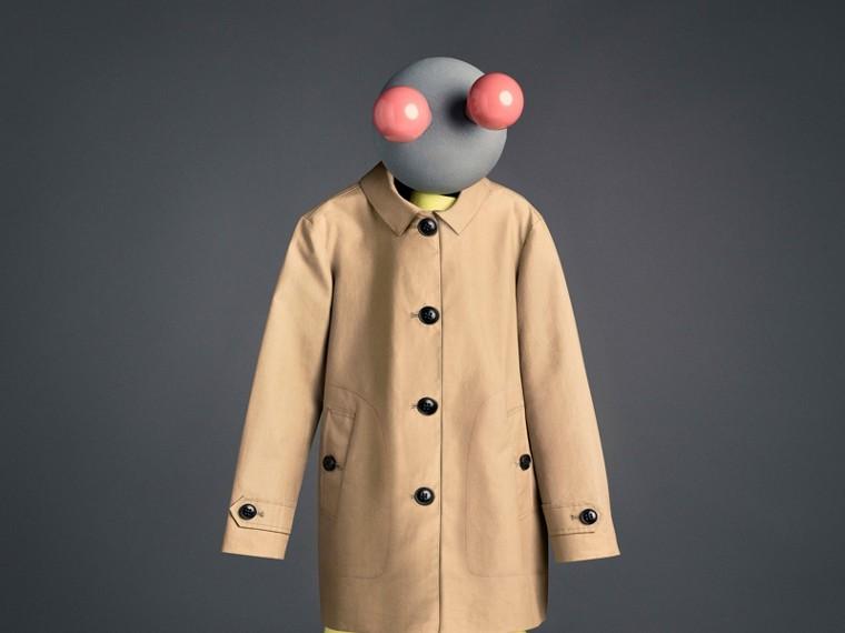 Mercerised Cotton Car Coat in Honey - Boy | Burberry United Kingdom - cell image 4