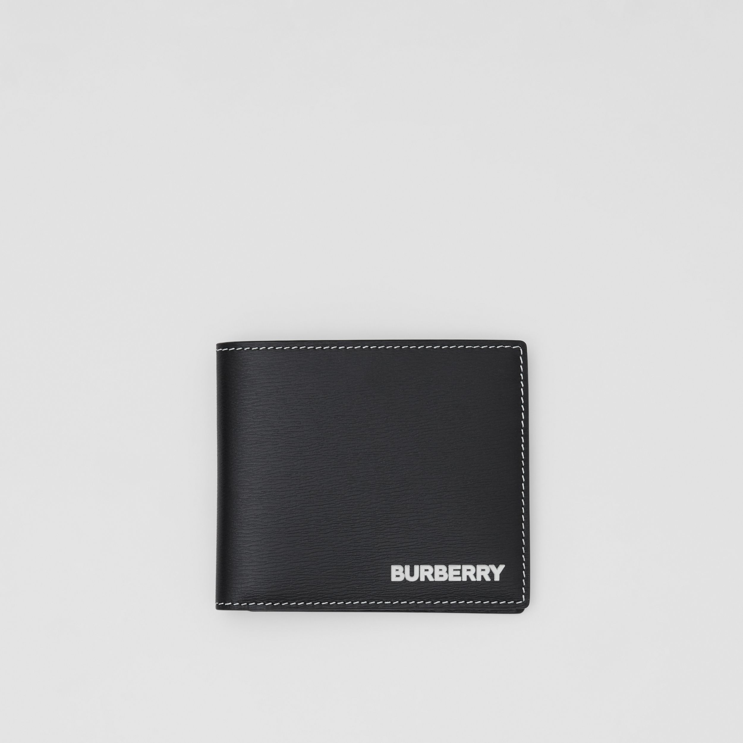 Topstitched Grainy Leather International Bifold Wallet in Black - Men | Burberry - 1