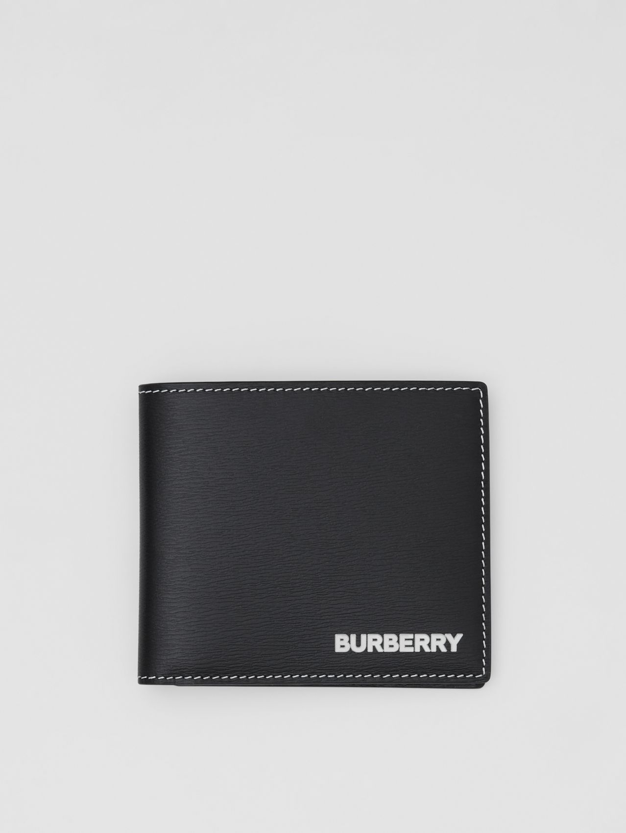 Topstitched Grainy Leather International Bifold Wallet in Black