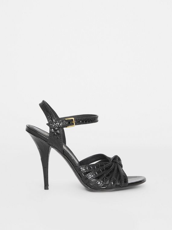 Knot Detail Embossed Leather Sandals in Black
