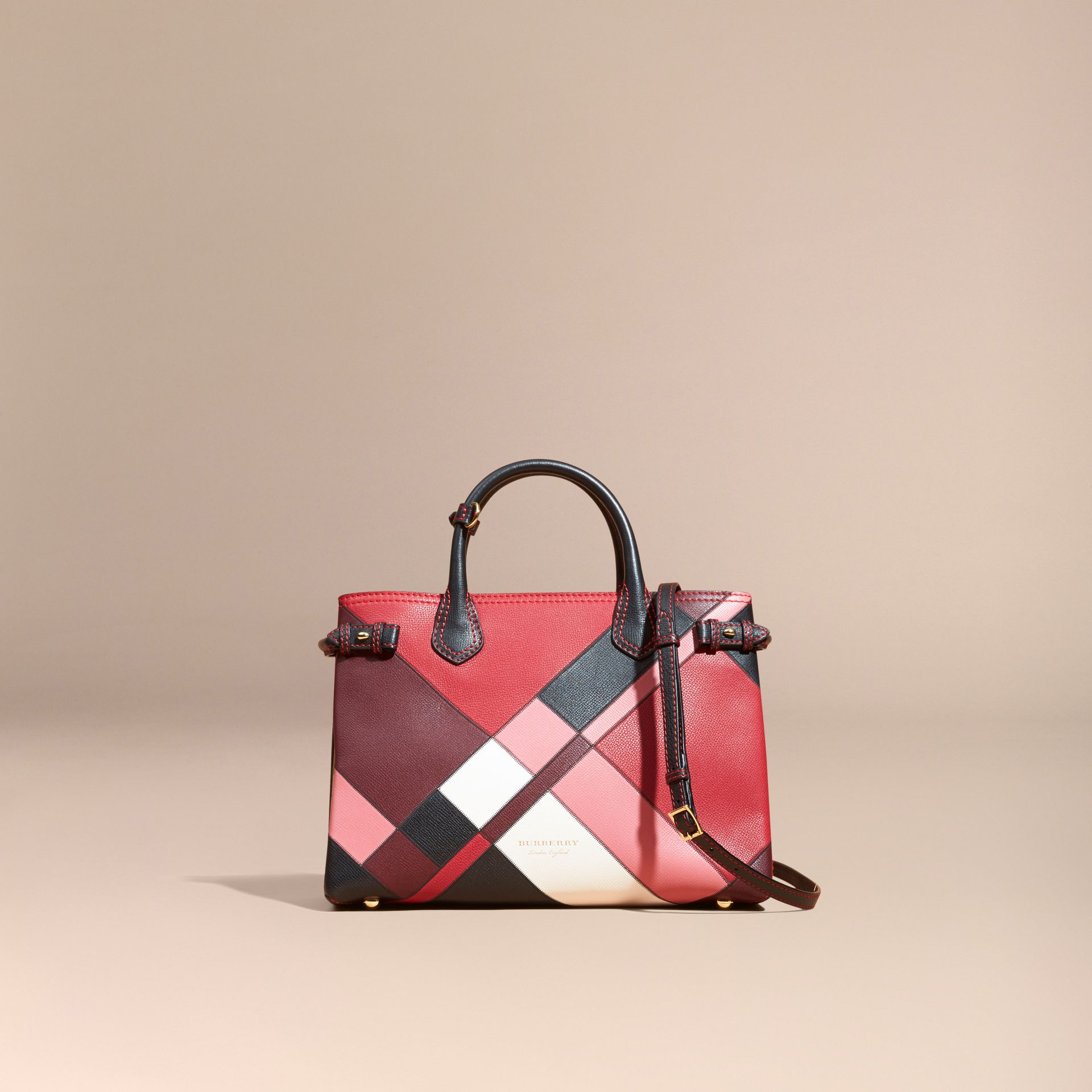 The Medium Banner in Colour Block Leather in Pink - Women | Burberry - gallery image 9