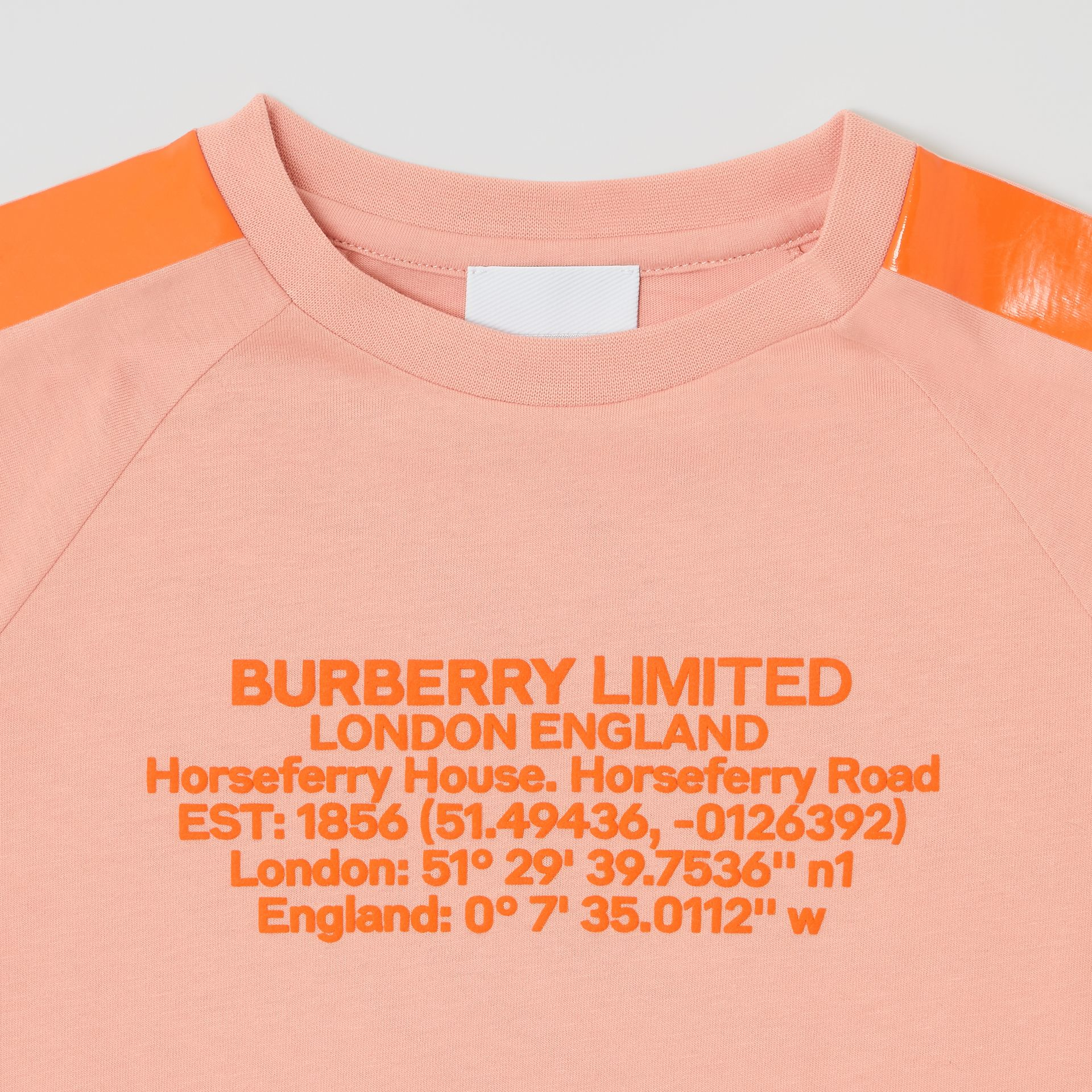 Tape Detail Location Print Cotton T-shirt in Peach | Burberry - gallery image 1