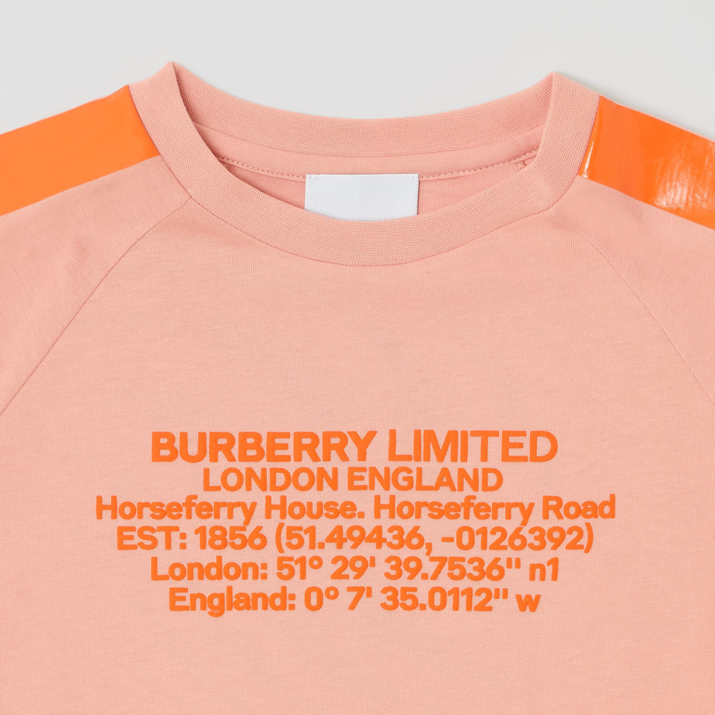 Tape Detail Location Print Cotton T-shirt in Peach | Burberry - 2
