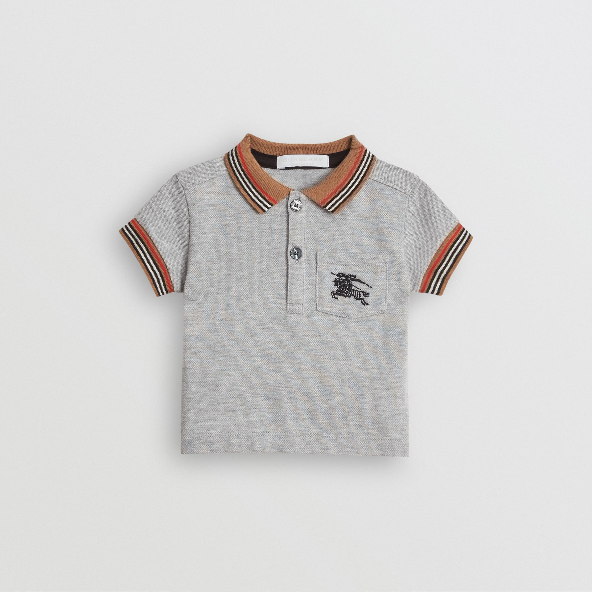 Icon Stripe Detail Cotton Polo Shirt in Grey Melange - Children | Burberry United Kingdom - gallery image 0