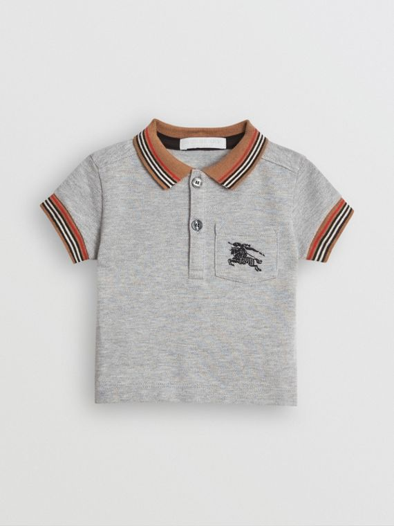 Icon Stripe Detail Cotton Polo Shirt in Grey Melange