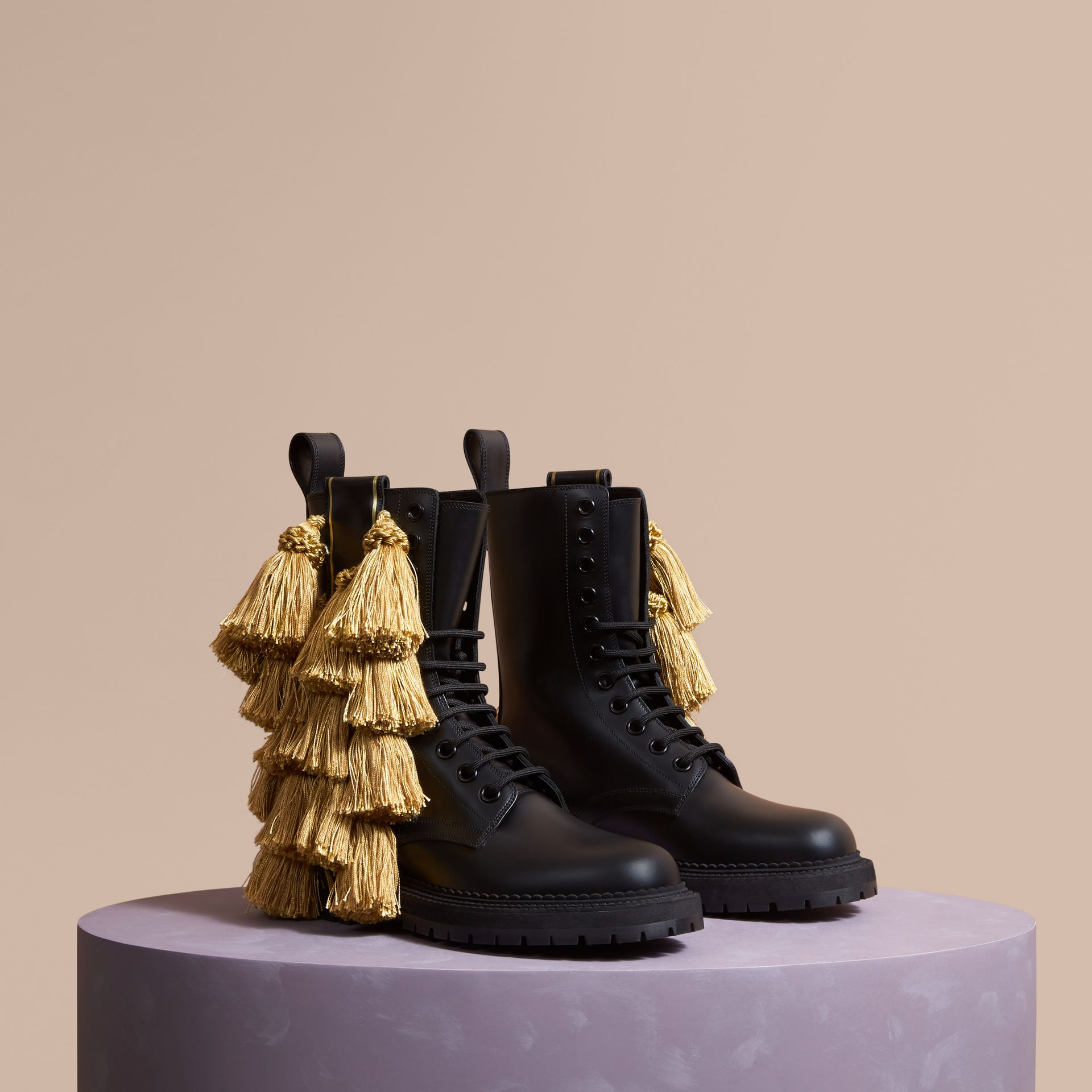 Black Tassel Detail Leather Army Boots - gallery image 1