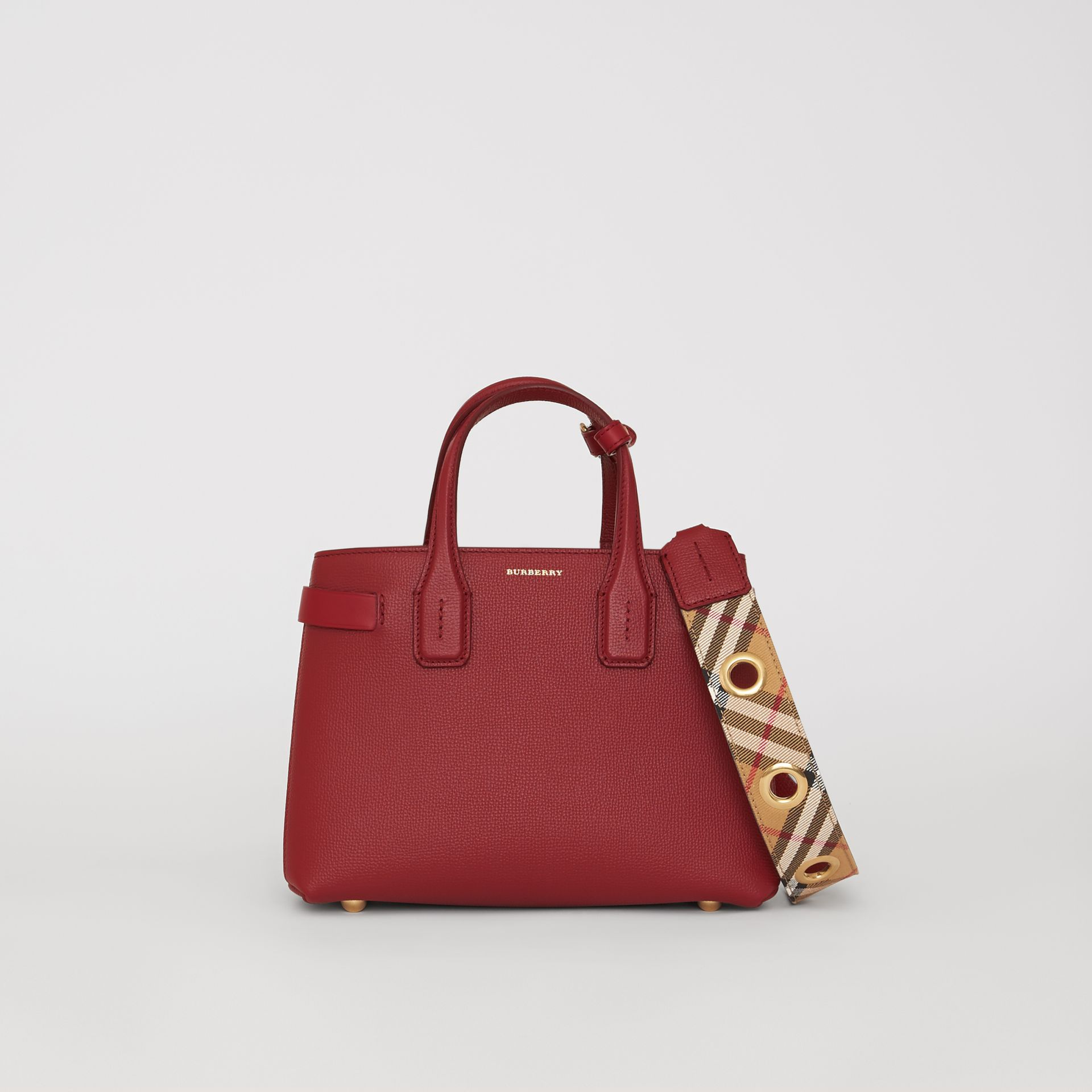 The Small Banner in Grainy Leather in Crimson - Women | Burberry United Kingdom - gallery image 0