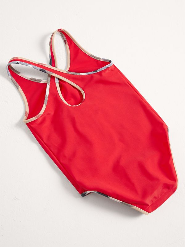 Check Detail One-piece Swimsuit in Poppy Red | Burberry - cell image 2