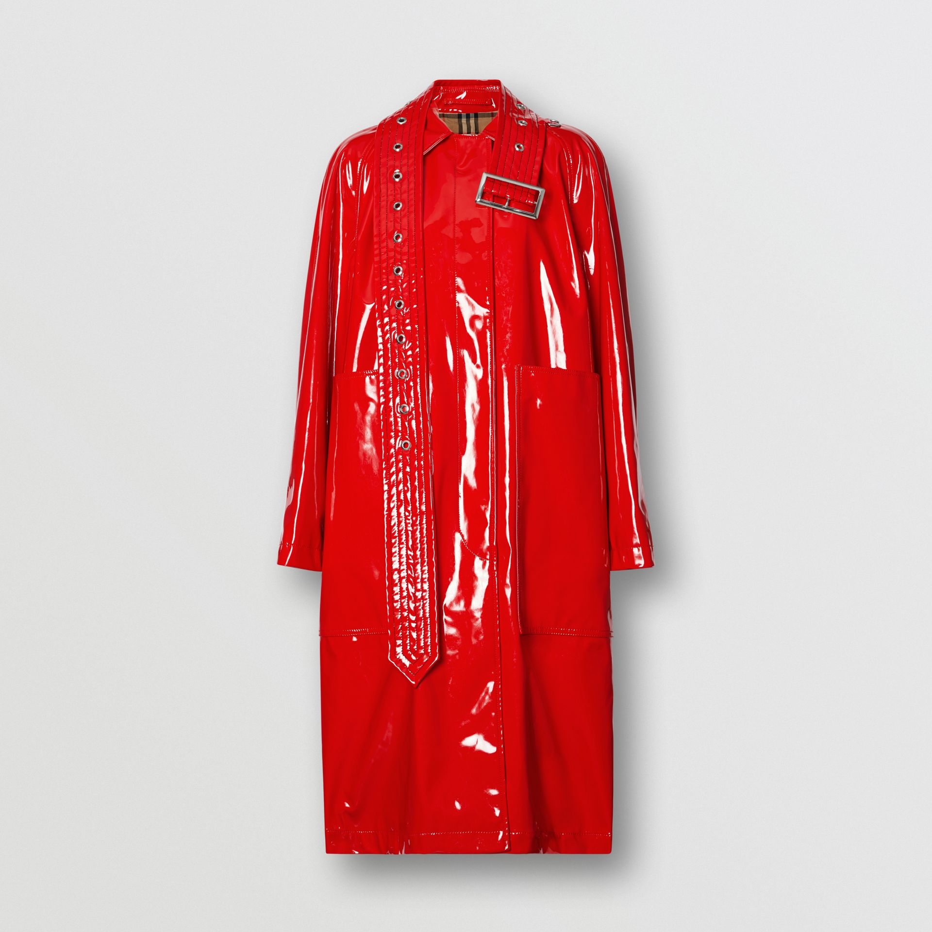 Belt Detail Laminated Car Coat in Bright Red - Women | Burberry - gallery image 3