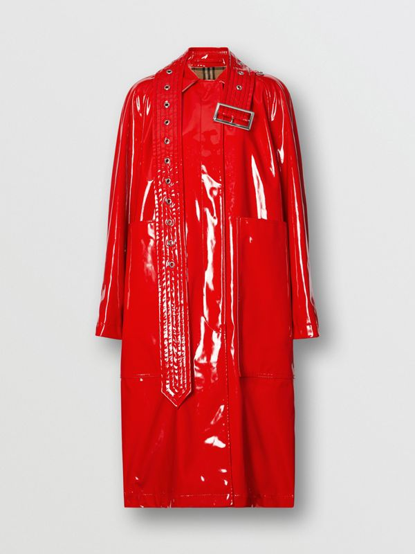 Belt Detail Laminated Car Coat in Bright Red - Women | Burberry - cell image 3