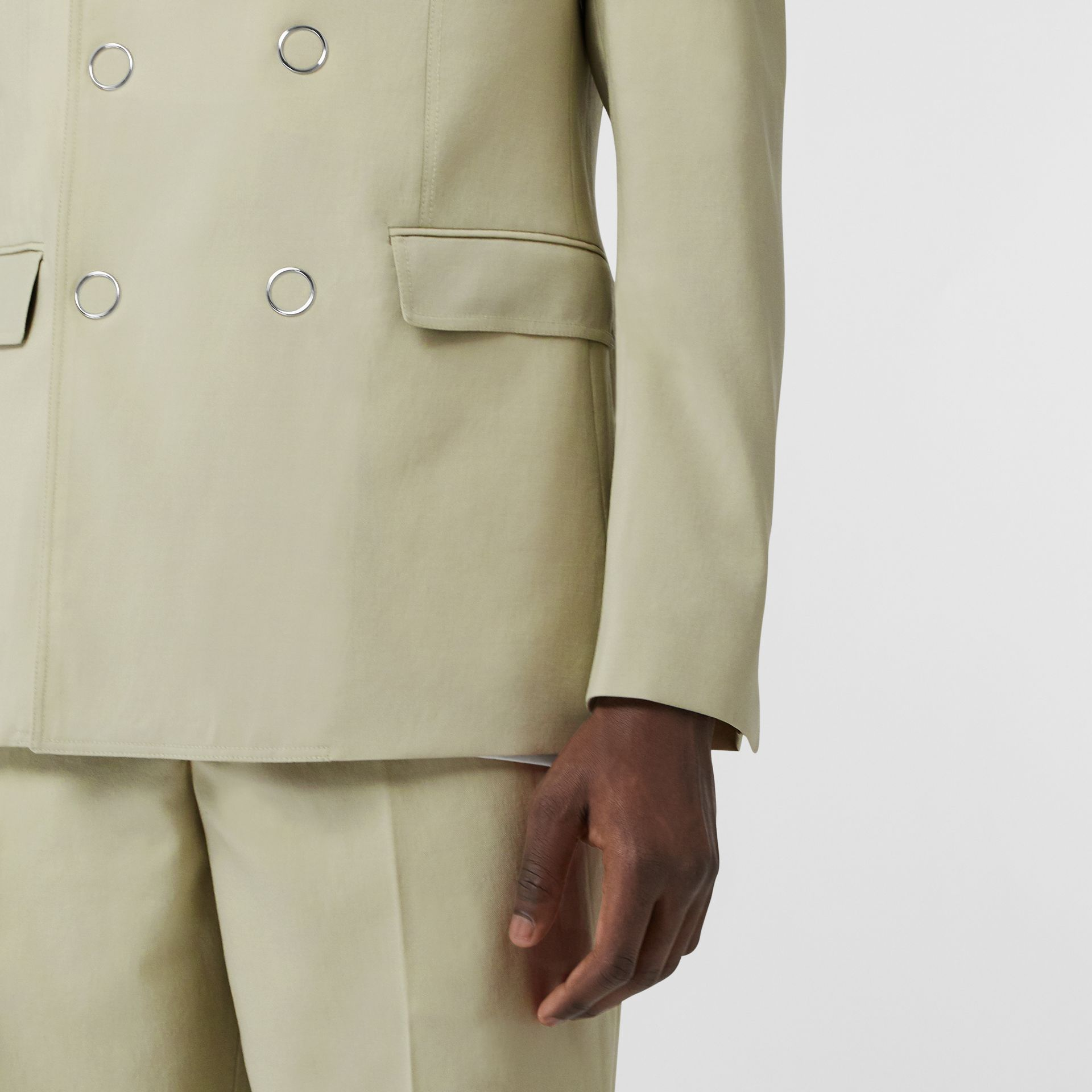 Slim Fit Press-stud Wool Tailored Jacket in Matcha | Burberry Australia - gallery image 6
