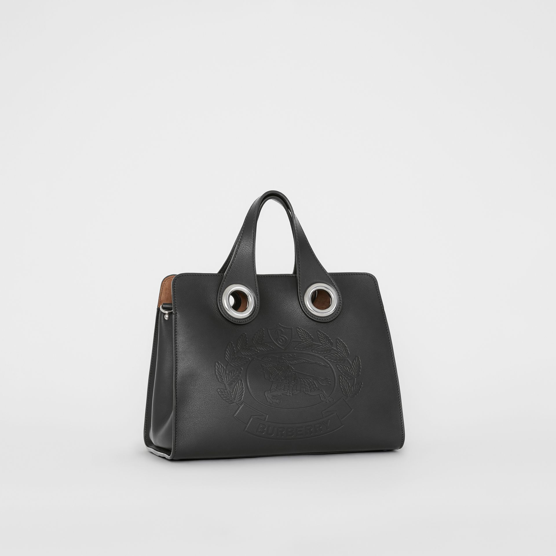 The Leather Crest Grommet Detail Tote in Black - Women | Burberry United States - gallery image 6