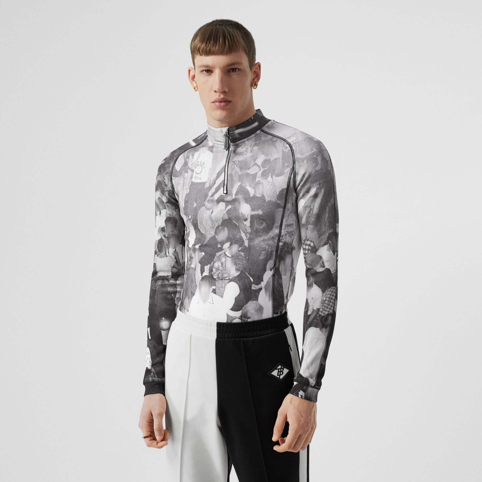 Long-sleeve Rave Print Stretch Jersey Top in Monochrome - Men | Burberry - gallery image 0