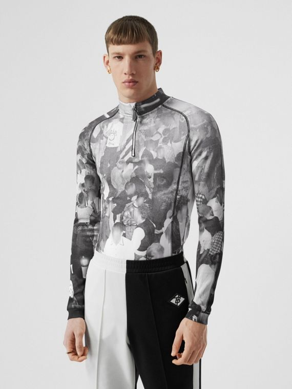 Long-sleeve Rave Print Stretch Jersey Top in Monochrome