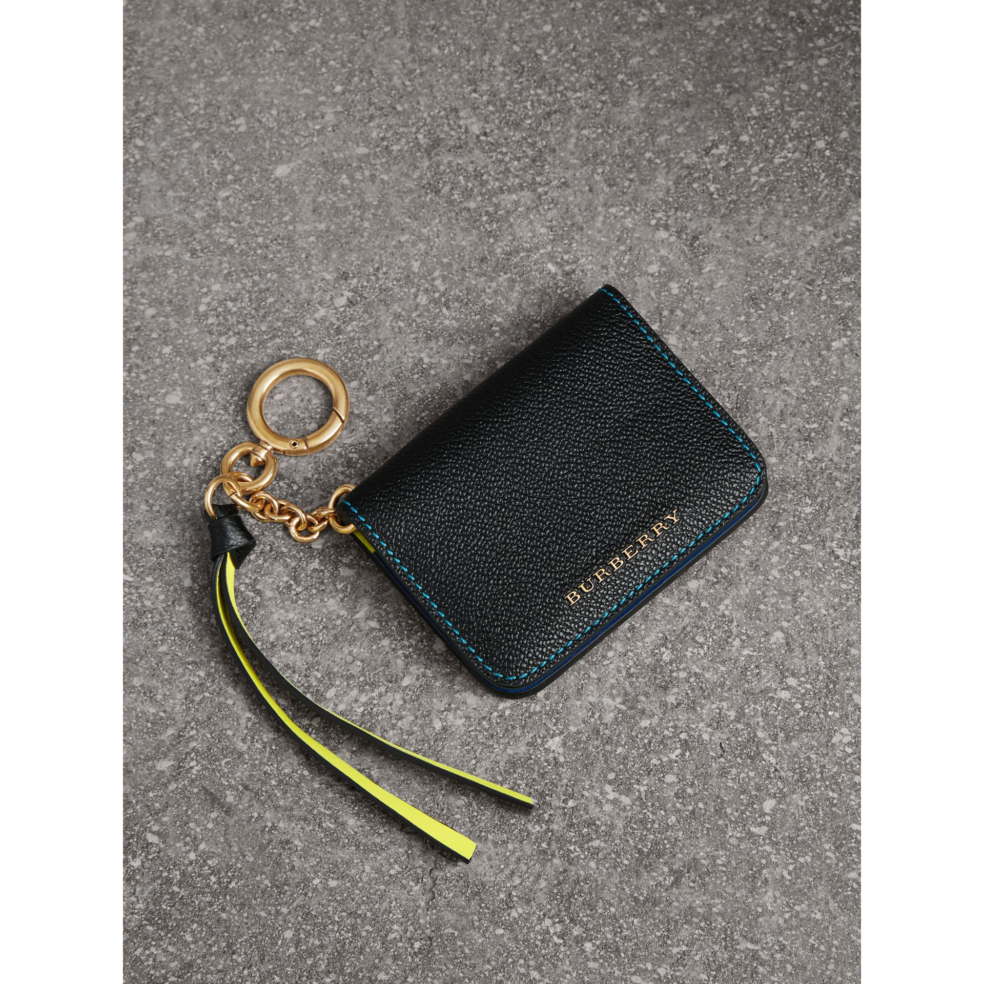 Leather and Haymarket Check ID Card Case Charm in Black/multicolour - Women | Burberry Singapore - gallery image 1