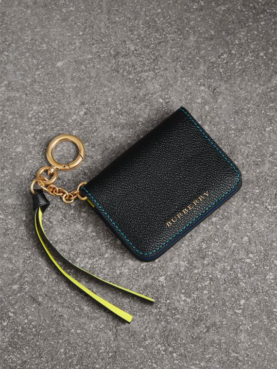 Leather and Haymarket Check ID Card Case Charm in Black/multicolour