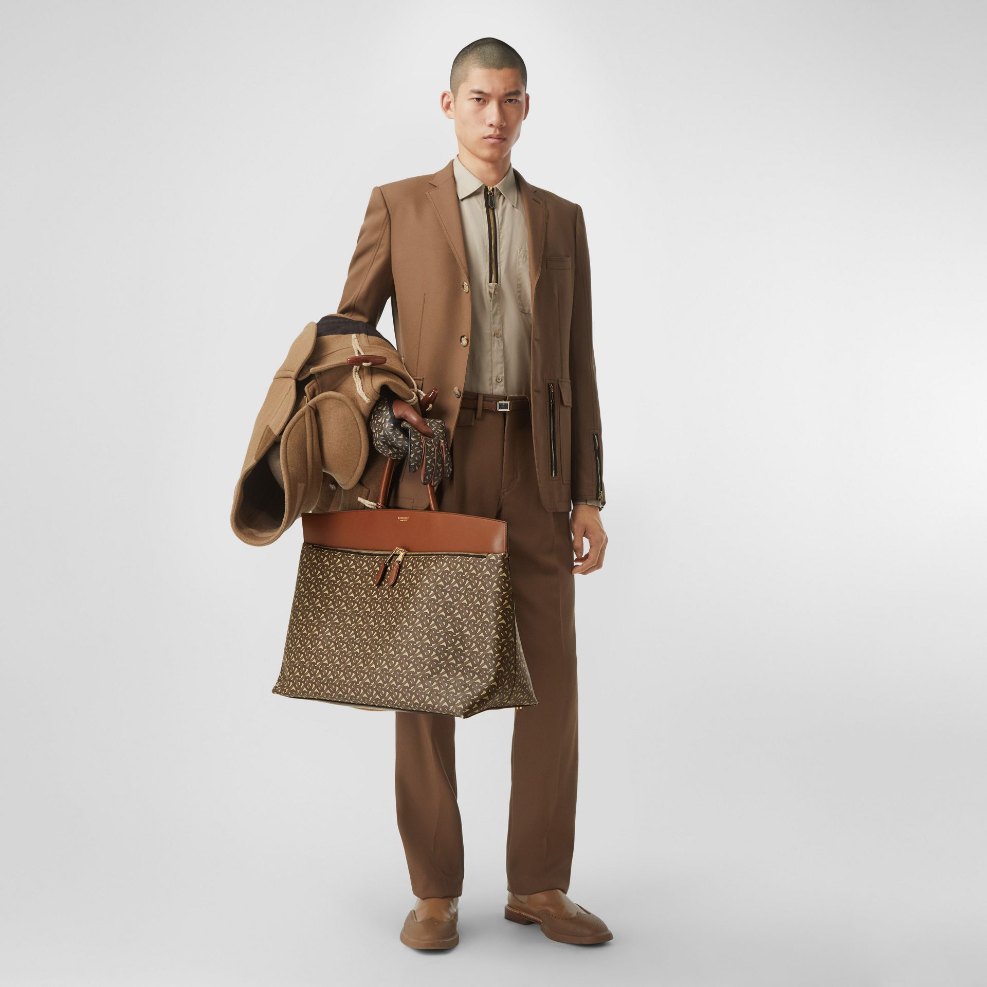 Extra Large Monogram E-canvas Society Top Handle Bag in Bridle Brown - Men | Burberry Hong Kong S.A.R - gallery image 9