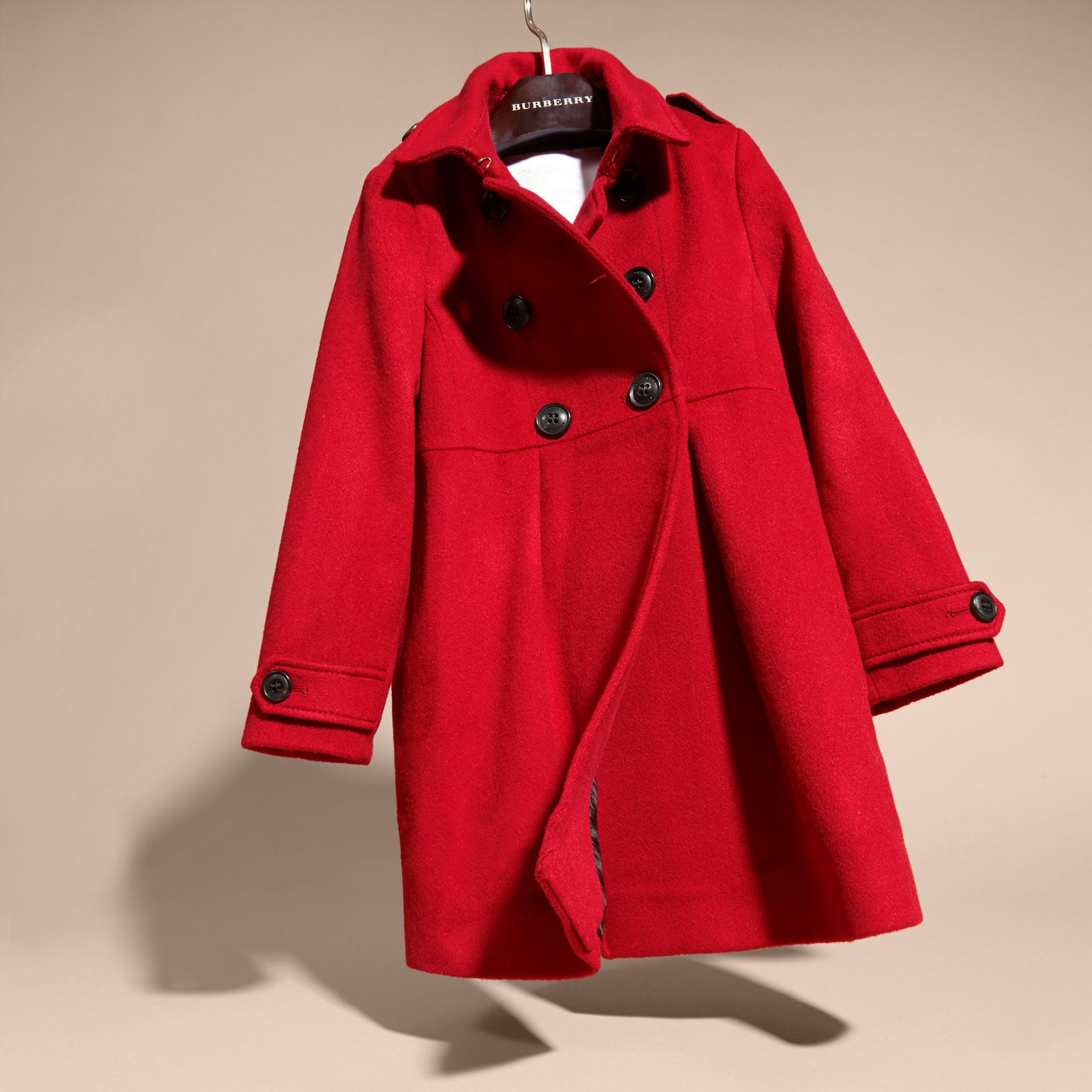 Cashmere Military Coat in Parade Red - gallery image 3