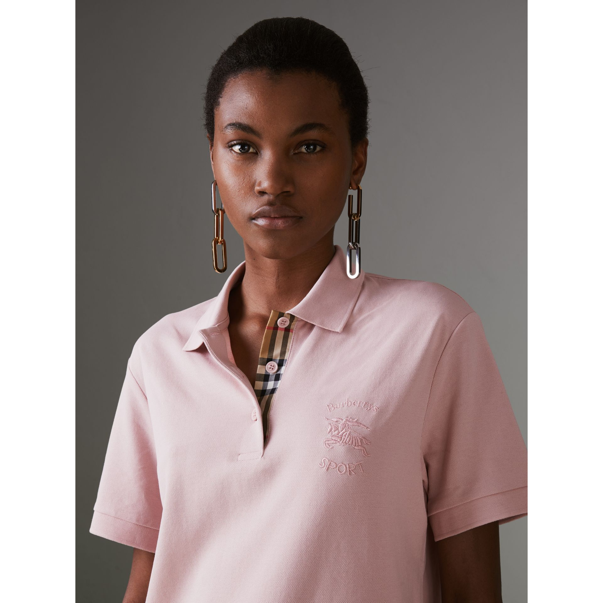 Check Placket Cotton Piqué Polo Shirt in Chalk Pink - Women | Burberry - gallery image 1