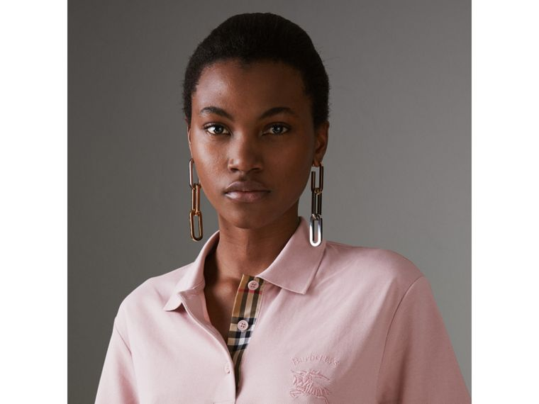 Check Placket Cotton Piqué Polo Shirt in Chalk Pink - Women | Burberry Singapore - cell image 1