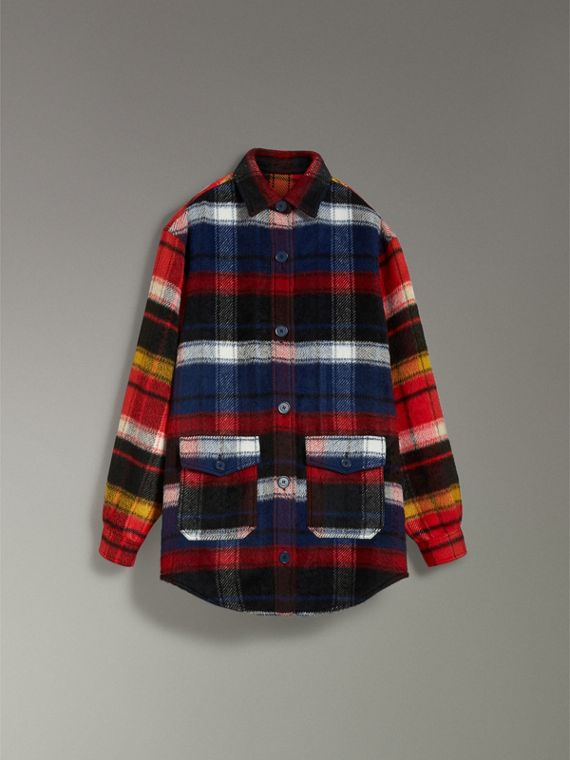 Check Alpaca Wool Jacket in Bright Navy - Women | Burberry - cell image 3