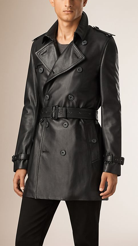 Black Nappa Leather Trench Coat - Image 2