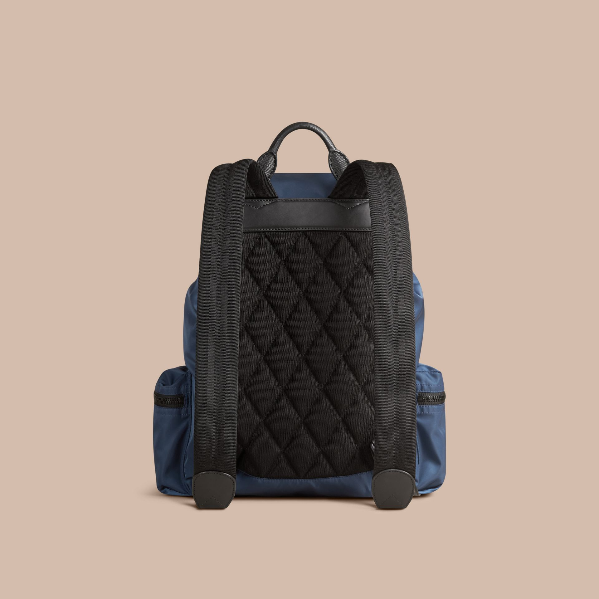 The Large Rucksack in Technical Nylon and Leather Steel Blue - gallery image 4