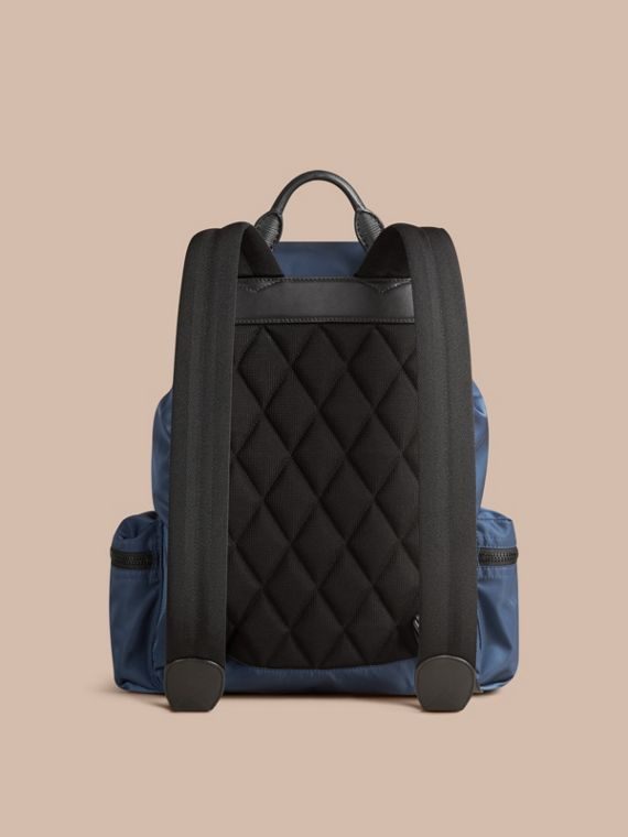 Steel blue The Large Rucksack in Technical Nylon and Leather Steel Blue - cell image 3