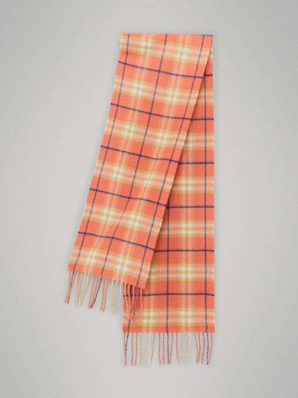 The Mini Classic Vintage Check Cashmere Scarf in Coral