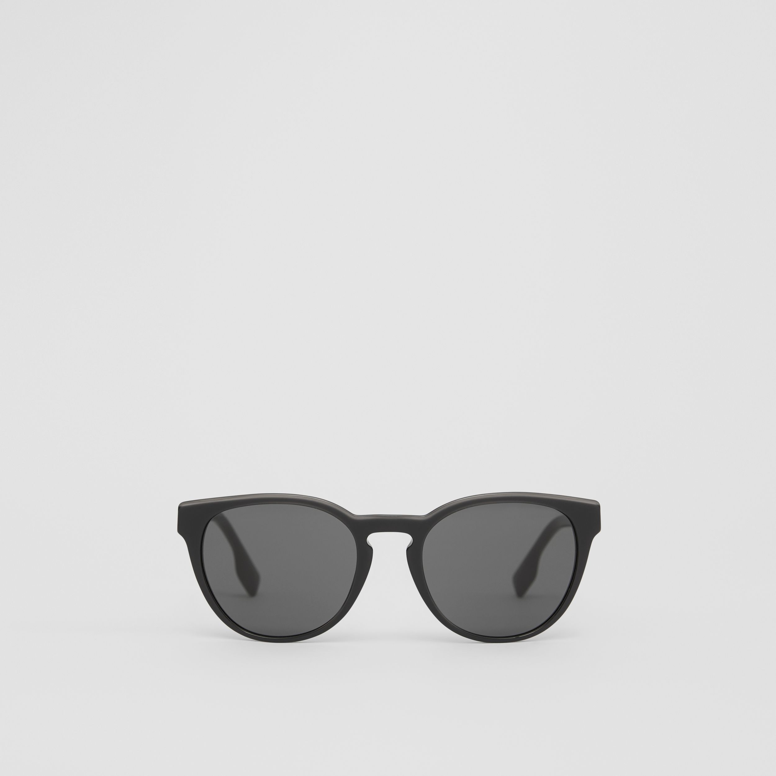 Round Frame Sunglasses in Black - Men | Burberry - 1