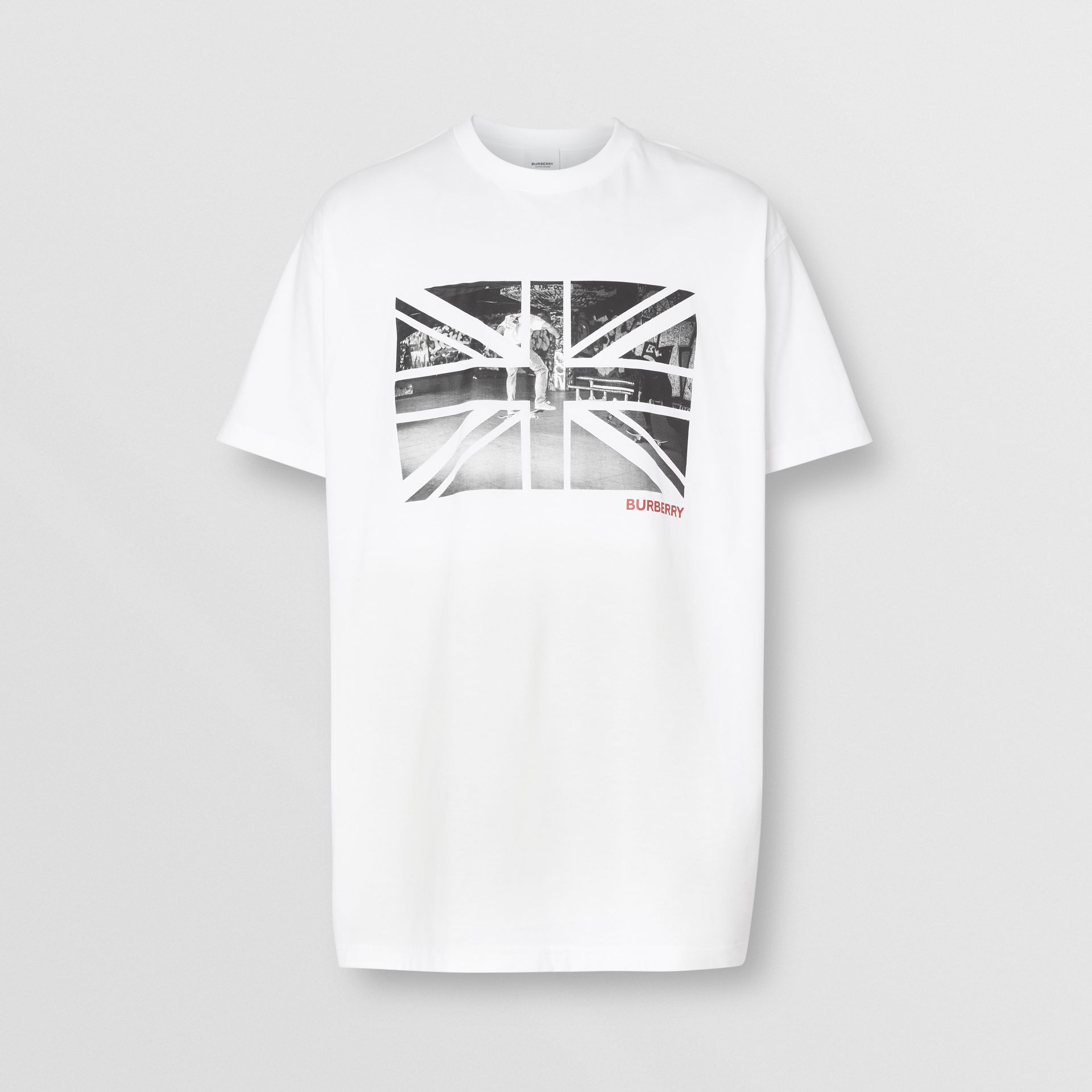 Union Jack Photo Print Cotton Oversized T-shirt in White - Men | Burberry - gallery image 3