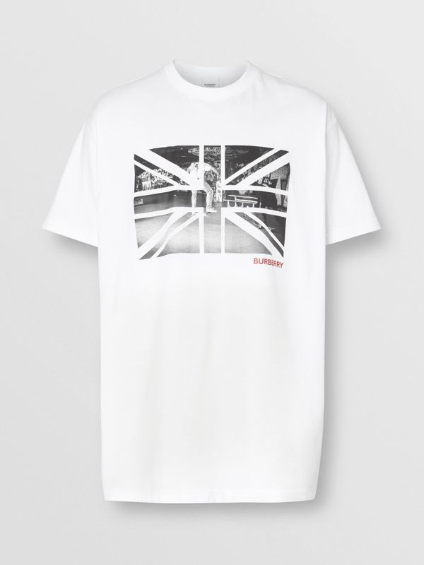 Union Jack Photo Print Cotton Oversized T-shirt in White - Men | Burberry - cell image 3