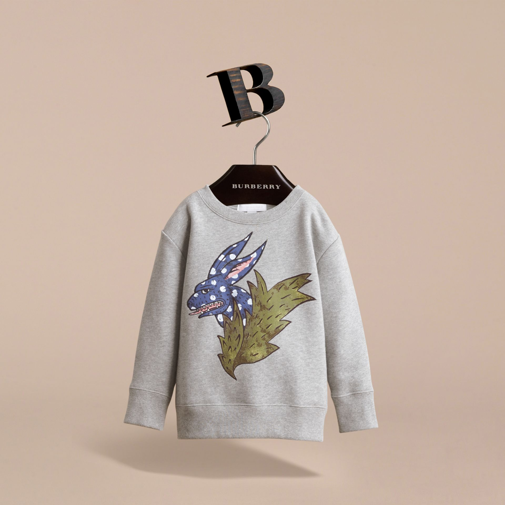 Beasts Motif Cotton Sweatshirt in Grey Melange - Girl | Burberry United Kingdom - gallery image 3