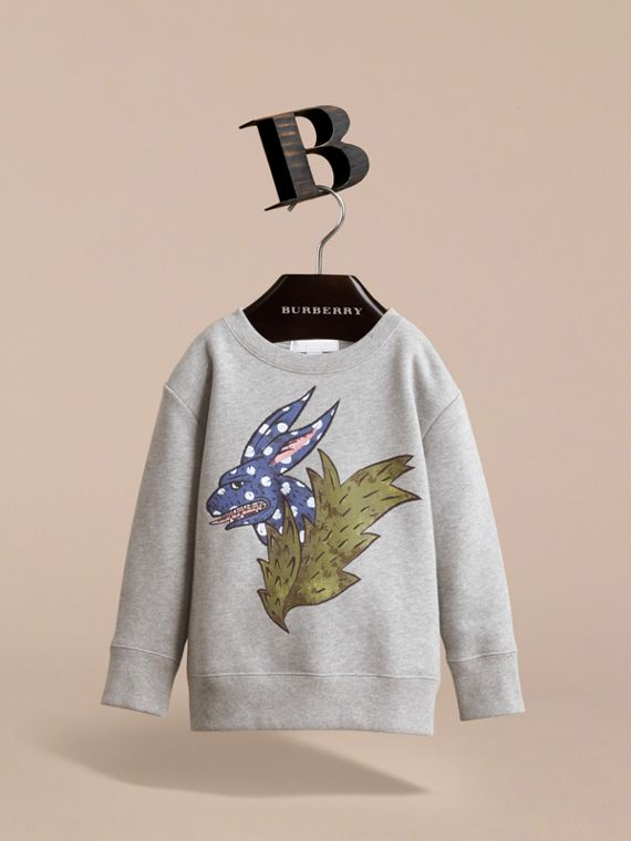 Beasts Motif Cotton Sweatshirt in Grey Melange - Girl | Burberry - cell image 2