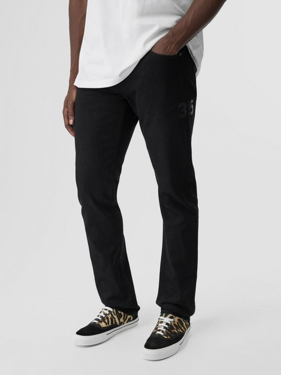 Straight Fit Logo Print Japanese Denim Jeans in Black