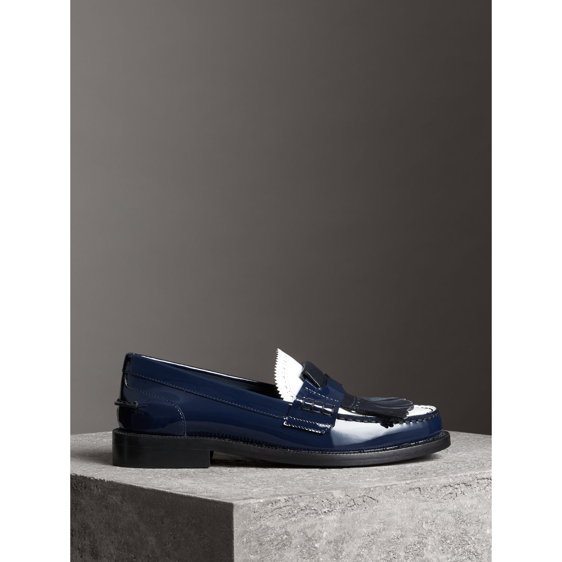 Tri-tone Kiltie Fringe Leather Loafers in Navy - Women | Burberry - gallery image 4