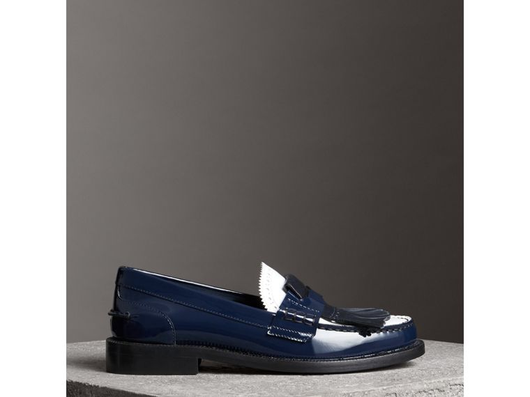 Tri-tone Kiltie Fringe Leather Loafers in Navy - Women | Burberry - cell image 4
