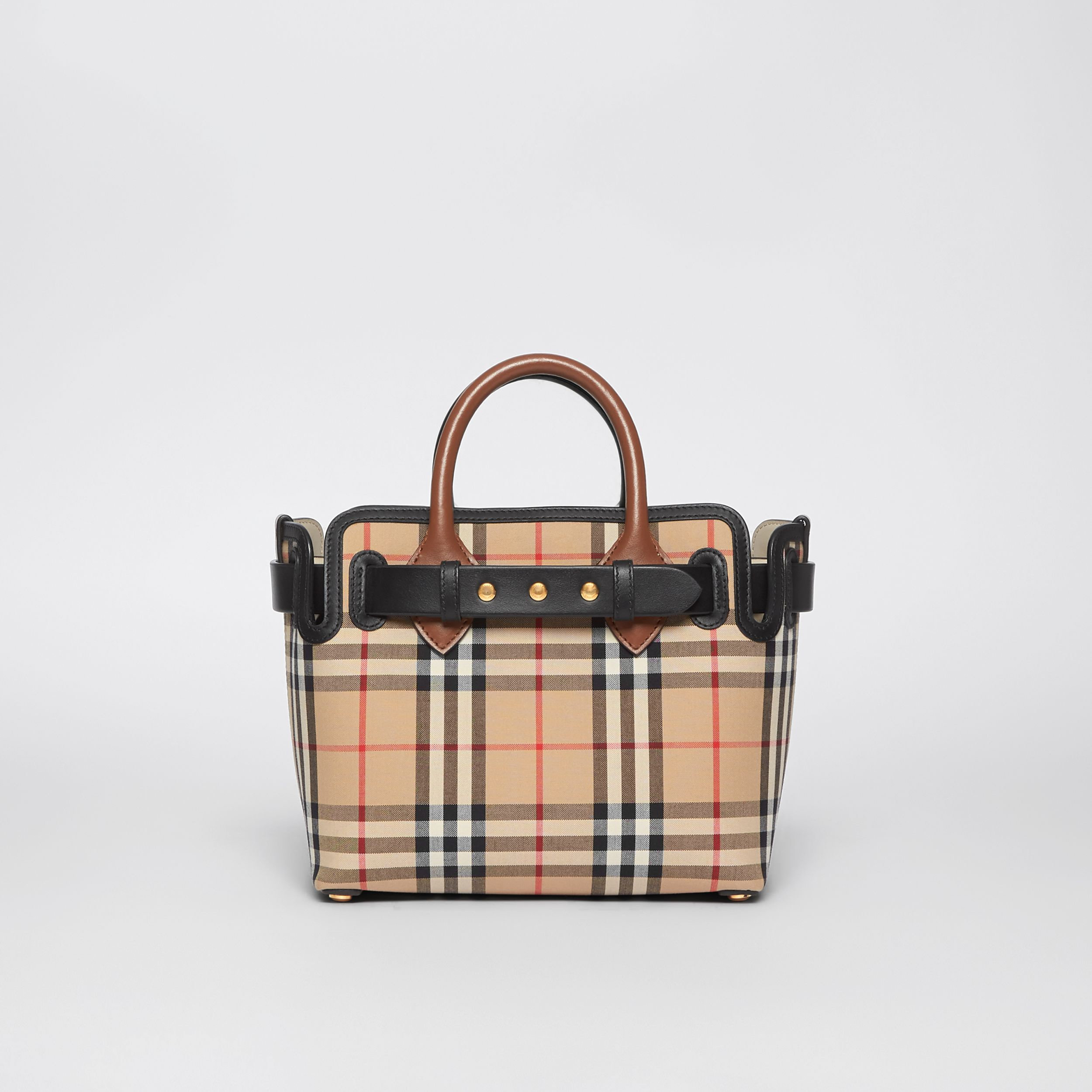 The Mini Vintage Check Triple Stud Belt Bag in Archive Beige - Women | Burberry - 1