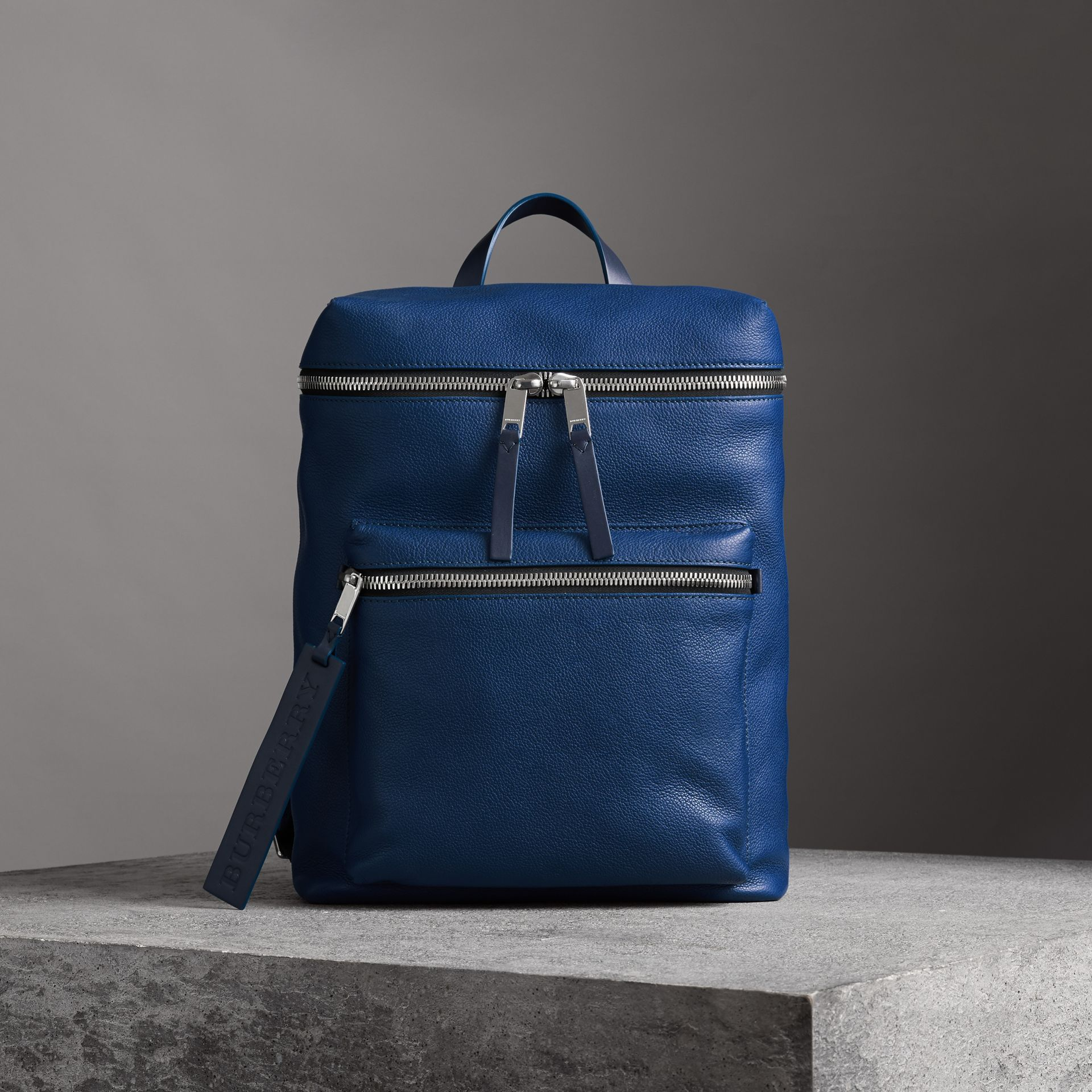 Zip-top Leather Backpack in Bright Ultramarine - Men | Burberry Australia - gallery image 0