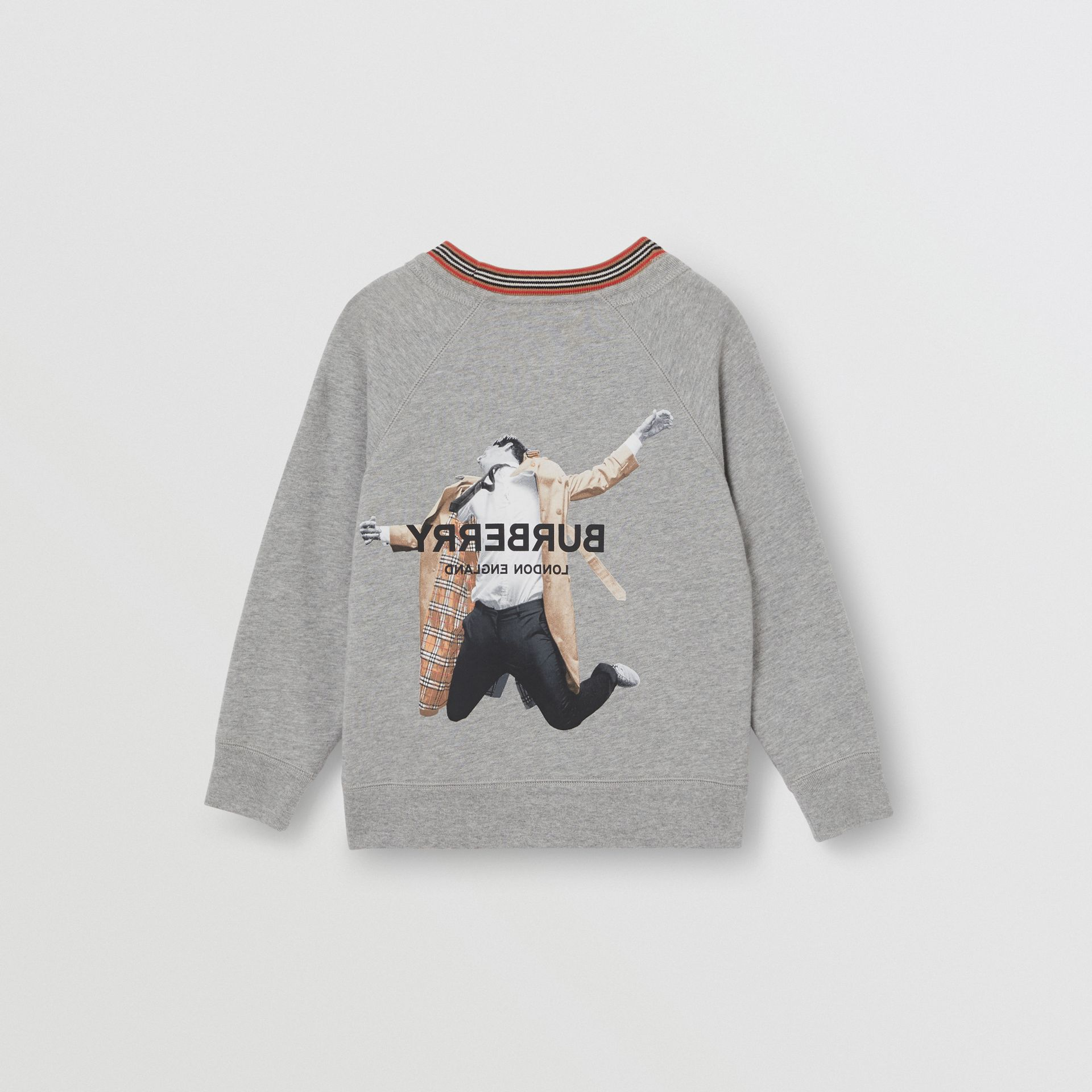 Jump Print Cotton Sweatshirt in Grey Melange | Burberry Hong Kong S.A.R - gallery image 3