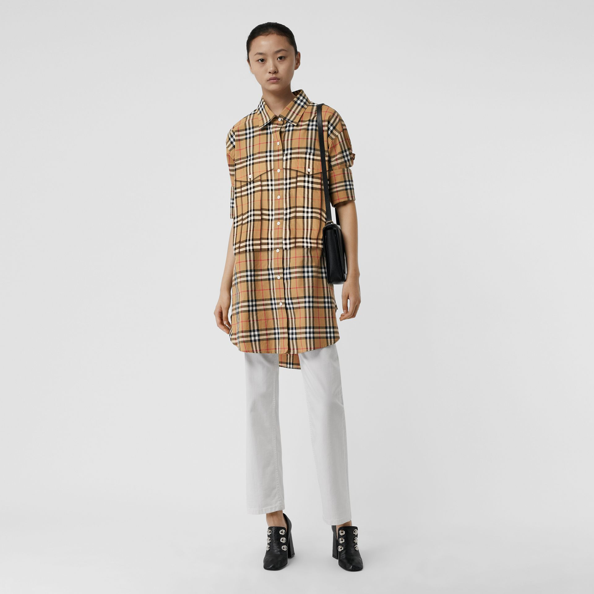 Vintage Check Cotton Oversized Shirt in Antique Yellow - Women | Burberry - gallery image 0