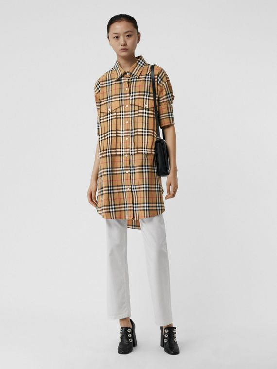 Vintage Check Cotton Oversized Shirt in Antique Yellow