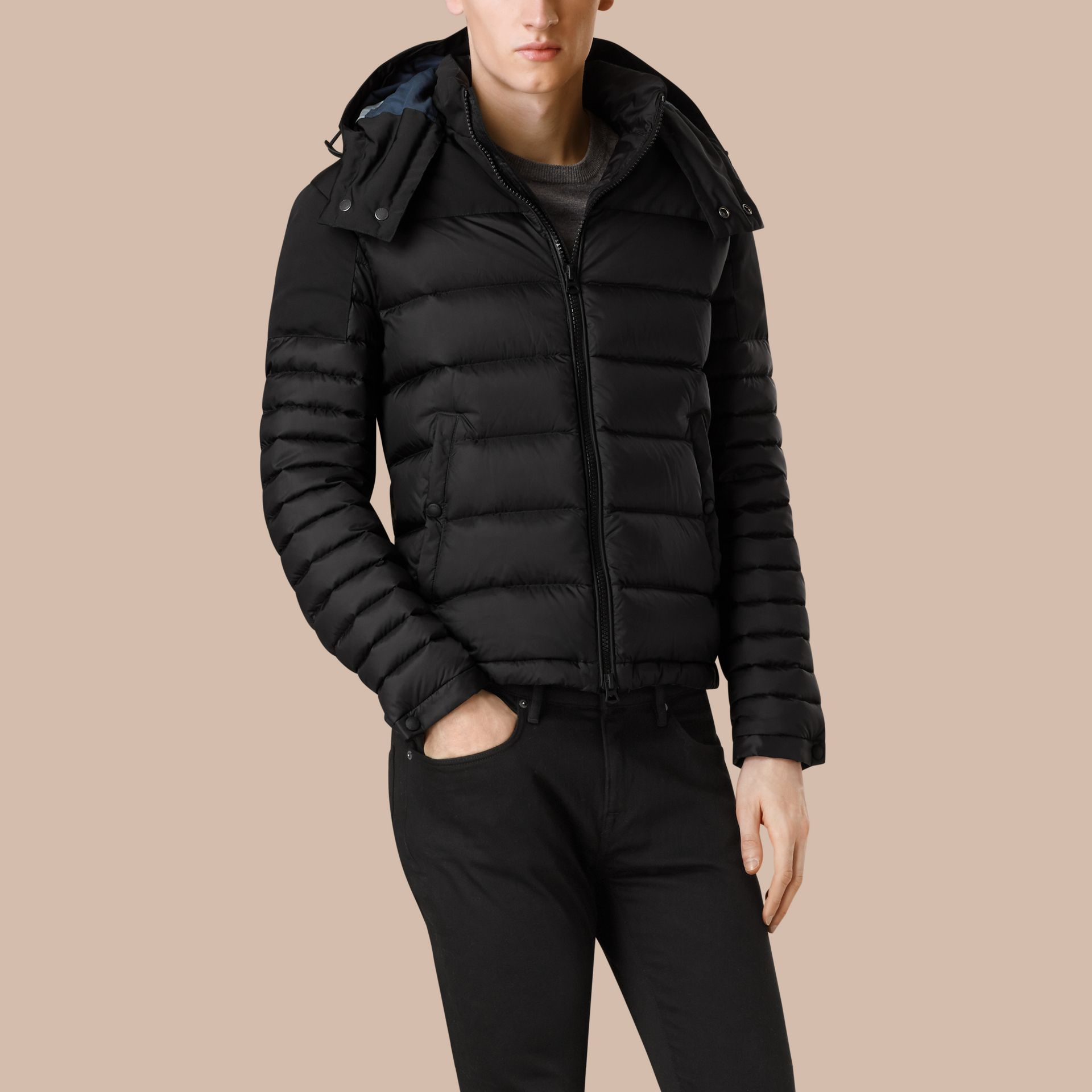 Black Mid-weight Down-filled Technical Puffer Jacket Black - gallery image 3