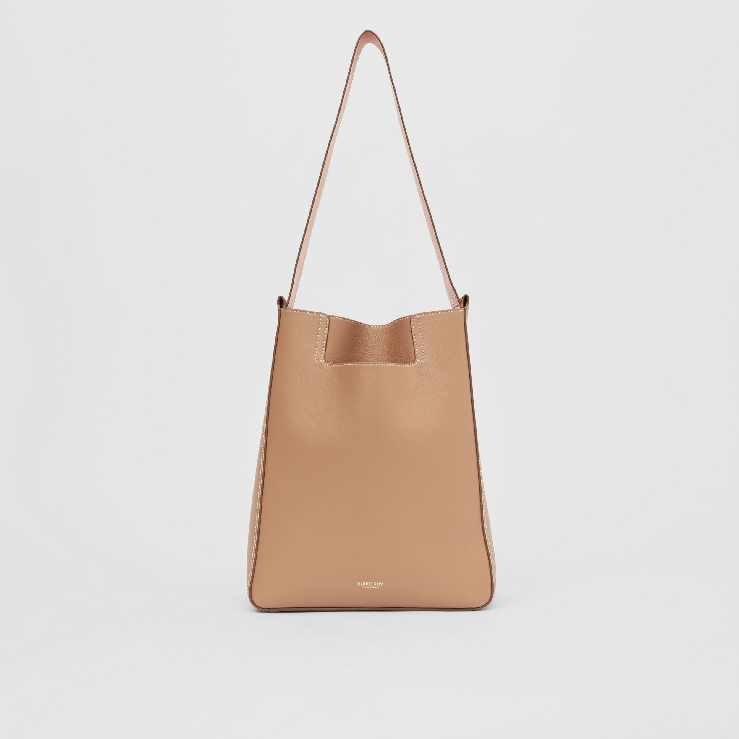 Small Leather Basket Bag in Camel - Women | Burberry - 1