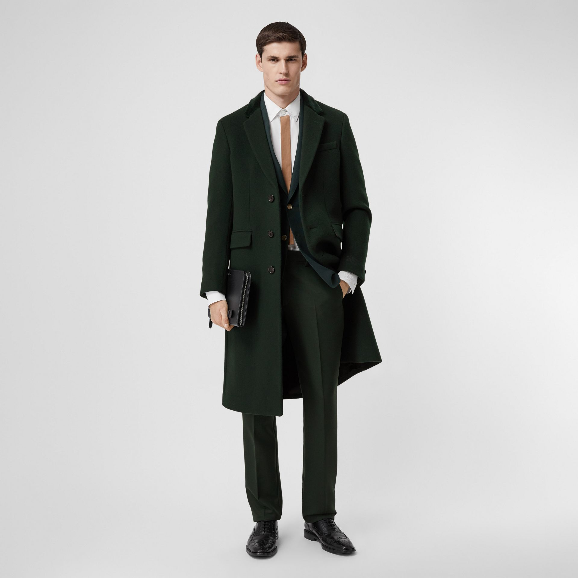 Velvet Trim Wool Cashmere Tailored Coat in Dark Pine Green - Men | Burberry - gallery image 0