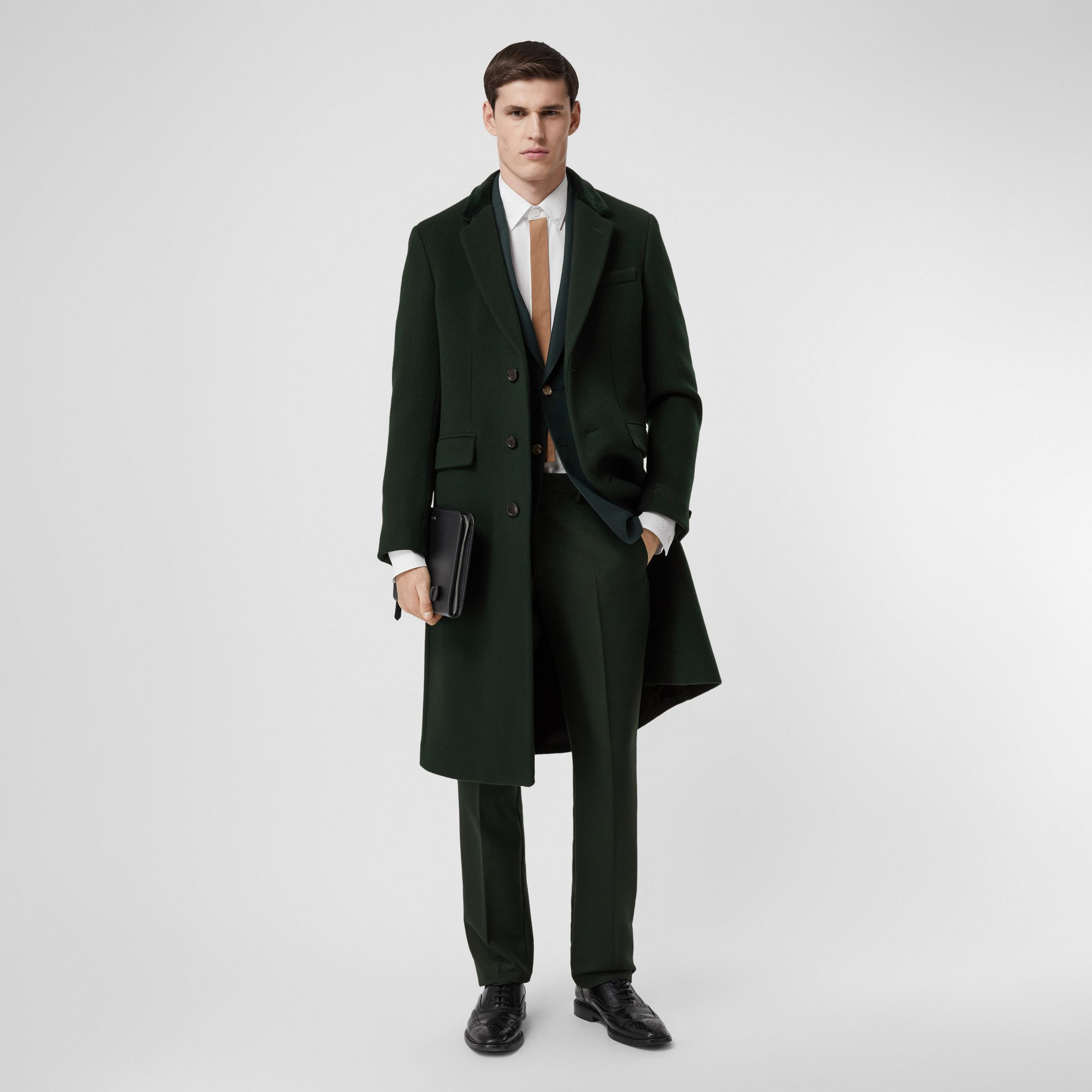 Velvet Trim Wool Cashmere Tailored Coat in Dark Pine Green - Men | Burberry - 1