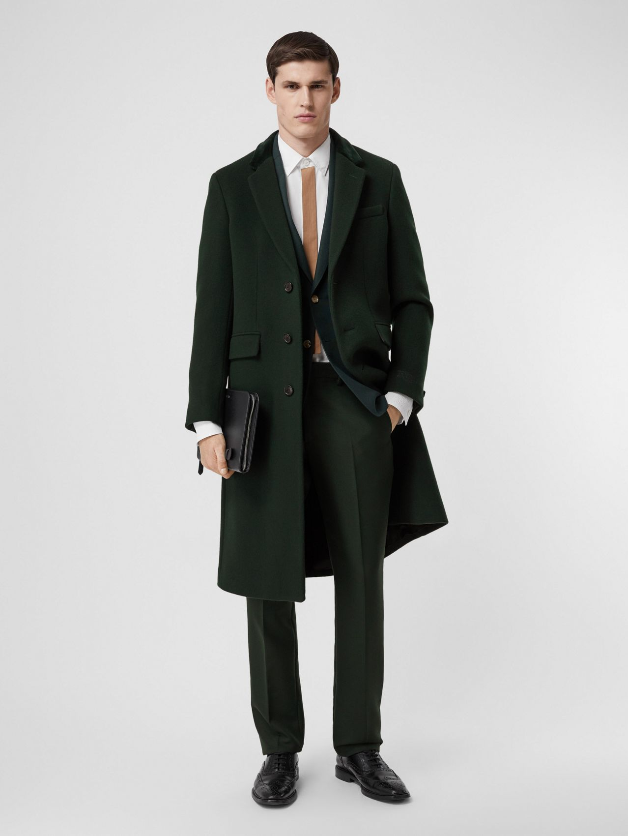 Velvet Trim Wool Cashmere Tailored Coat in Dark Pine Green