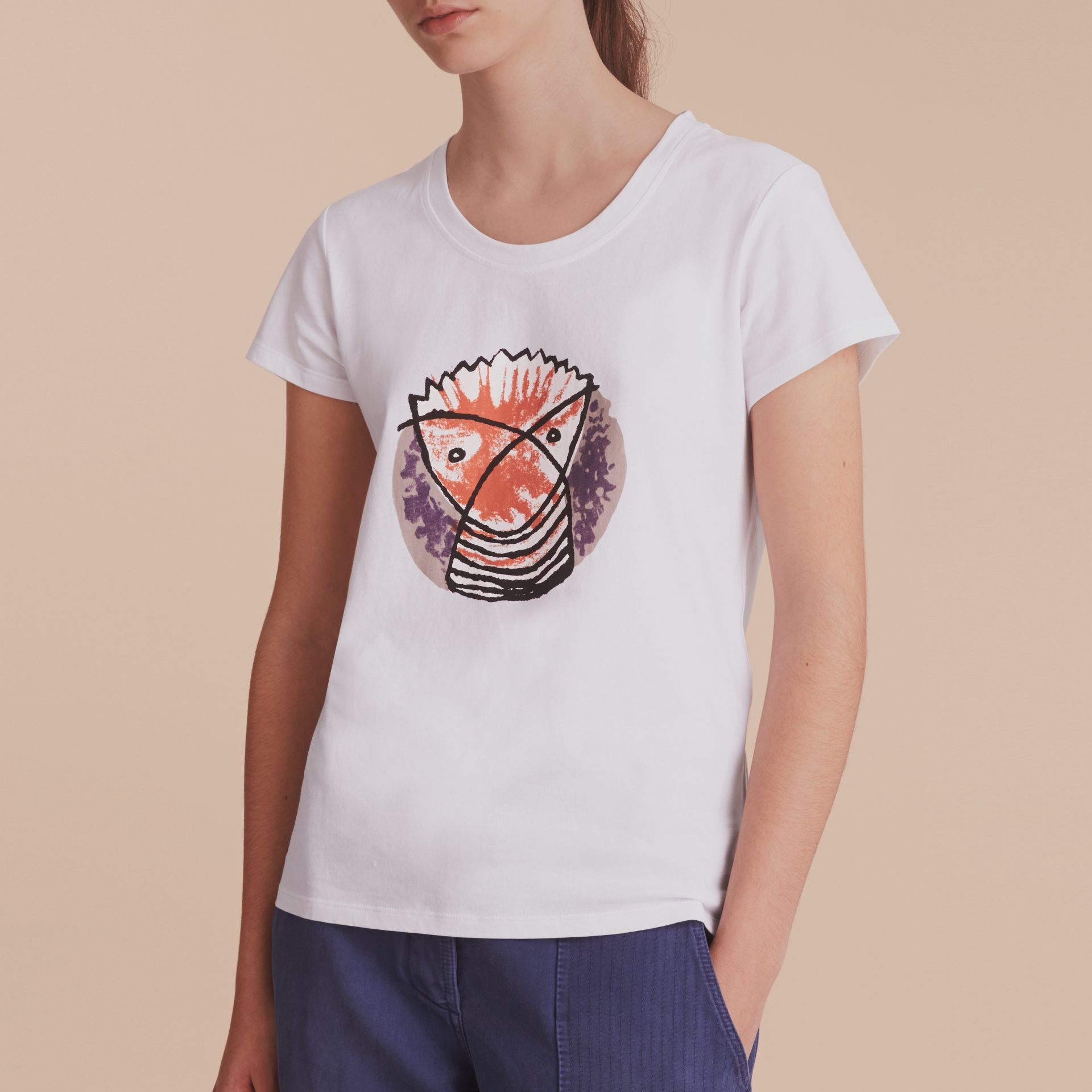 Pallas Heads Print Cotton T-shirt in White - Women | Burberry - gallery image 4