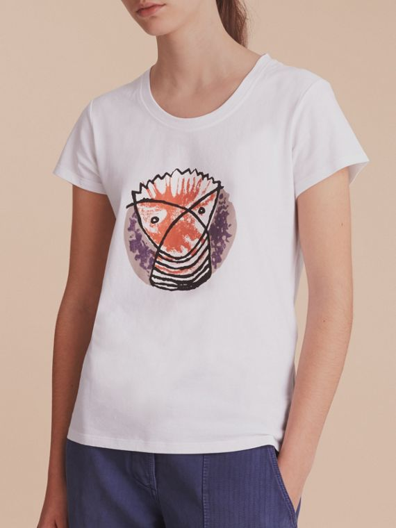T-shirt in cotone con stampa Pallas Heads (Bianco) - Donna | Burberry - cell image 3